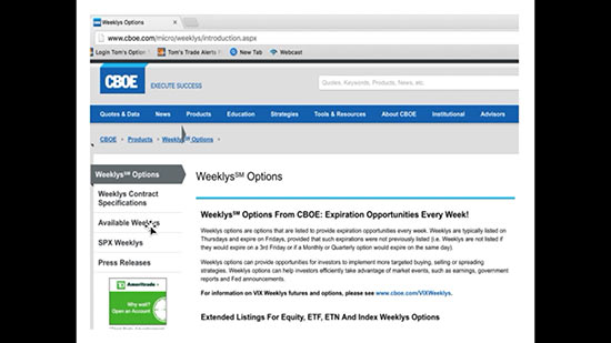 weekly options listings Tom Reveals Your Best Protection Against Early Assignment... Plus ...
